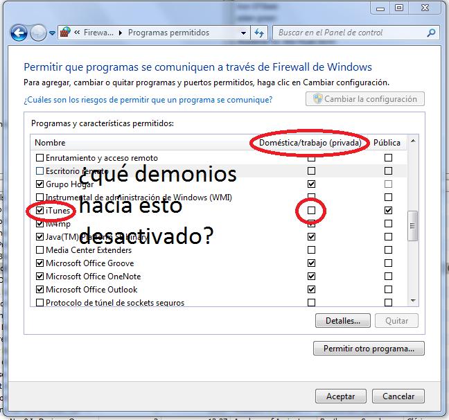 Firewall de Windows 7 y Airport Express